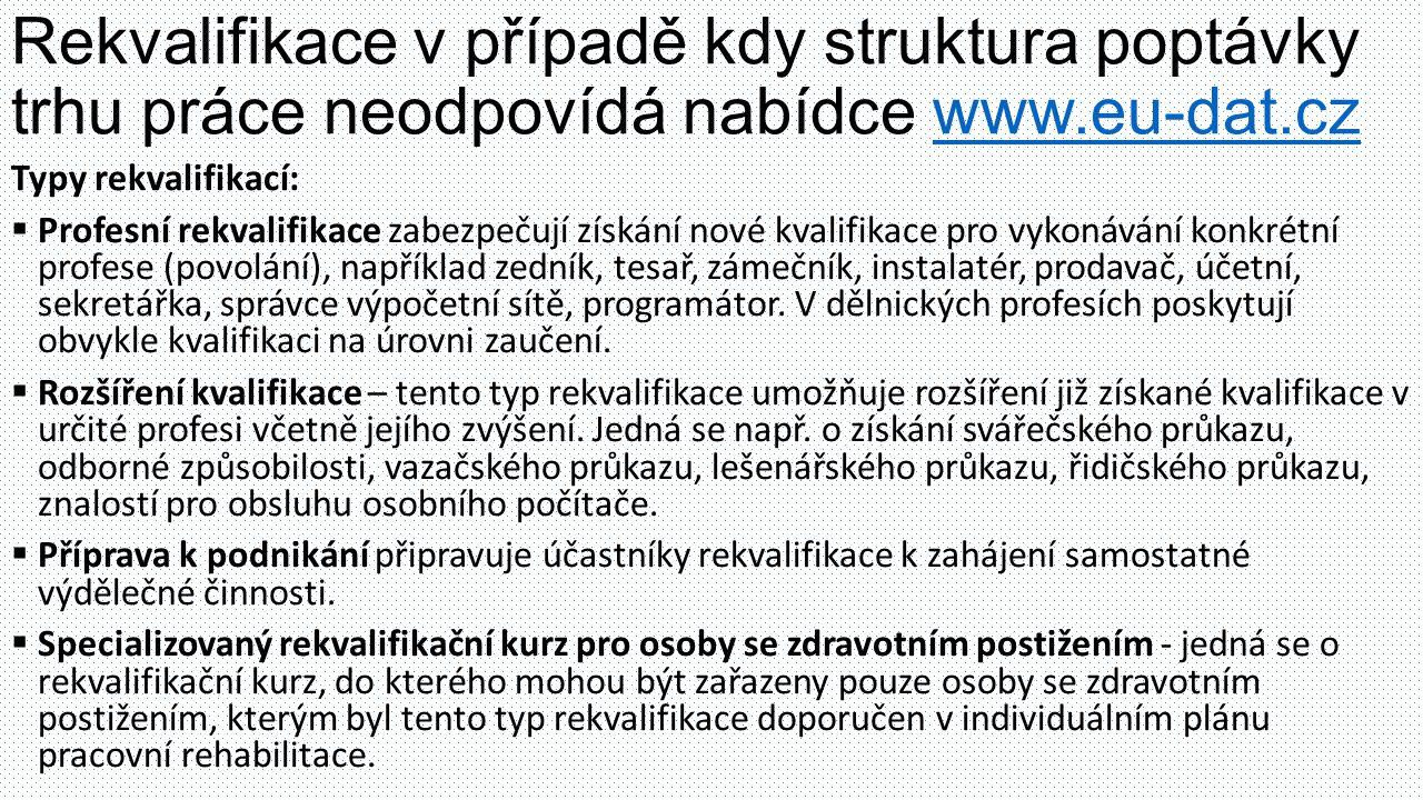 Rekvalifikace v případě kdy struktura poptávky trhu práce neodpovídá nabídce www.eu-dat.czwww.eu-dat.cz Typy rekvalifikací:  Profesní rekvalifikace zabezpečují získání nové kvalifikace pro vykonávání konkrétní profese (povolání), například zedník, tesař, zámečník, instalatér, prodavač, účetní, sekretářka, správce výpočetní sítě, programátor.