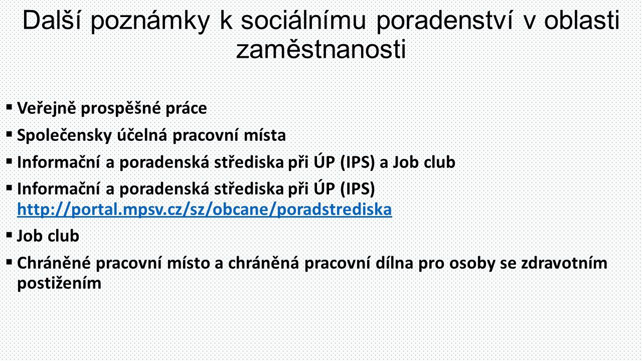 Další poznámky k sociálnímu poradenství v oblasti zaměstnanosti  Veřejně prospěšné práce  Společensky účelná pracovní místa  Informační a poradenská střediska při ÚP (IPS) a Job club  Informační a poradenská střediska při ÚP (IPS) http://portal.mpsv.cz/sz/obcane/poradstrediska http://portal.mpsv.cz/sz/obcane/poradstrediska  Job club  Chráněné pracovní místo a chráněná pracovní dílna pro osoby se zdravotním postižením