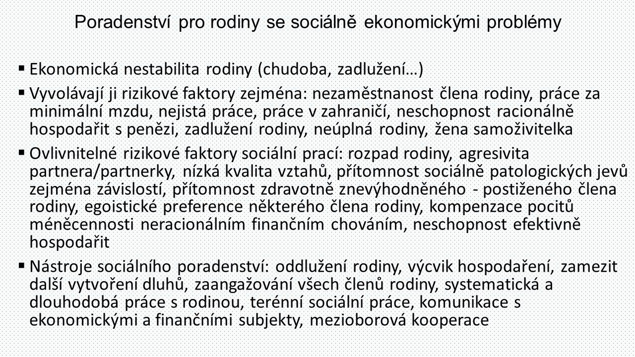 Poradenství pro rodiny se sociálně ekonomickými problémy  Ekonomická nestabilita rodiny (chudoba, zadlužení…)  Vyvolávají ji rizikové faktory zejmén