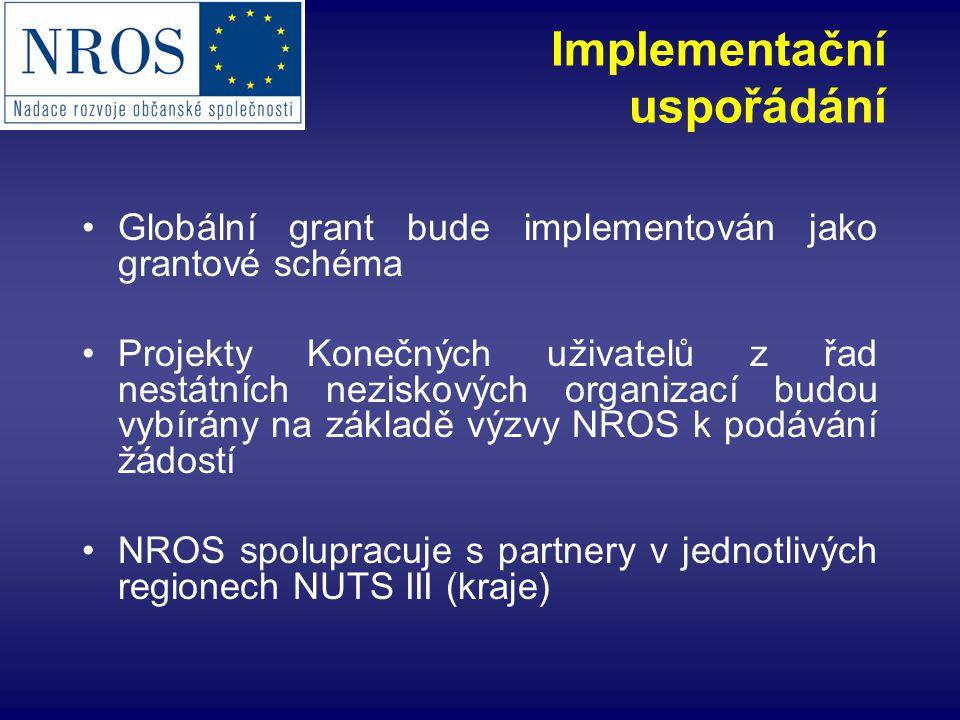 Implementační uspořádání Globální grant bude implementován jako grantové schéma Projekty Konečných uživatelů z řad nestátních neziskových organizací budou vybírány na základě výzvy NROS k podávání žádostí NROS spolupracuje s partnery v jednotlivých regionech NUTS III (kraje)