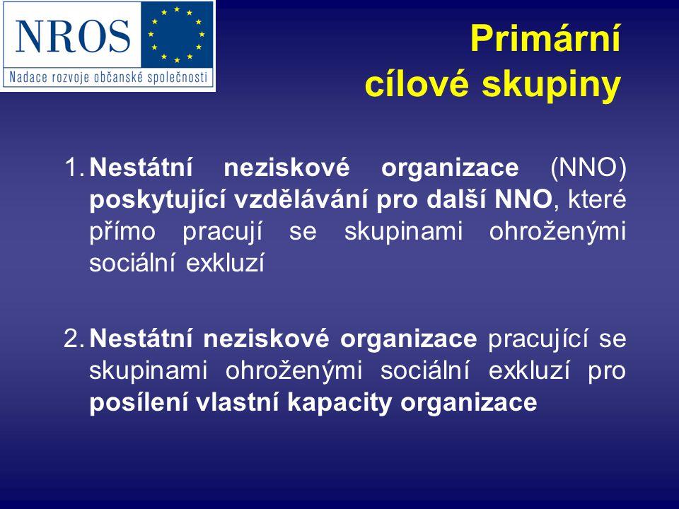 1.Nestátní neziskové organizace (NNO) poskytující vzdělávání pro další NNO, které přímo pracují se skupinami ohroženými sociální exkluzí 2.Nestátní ne