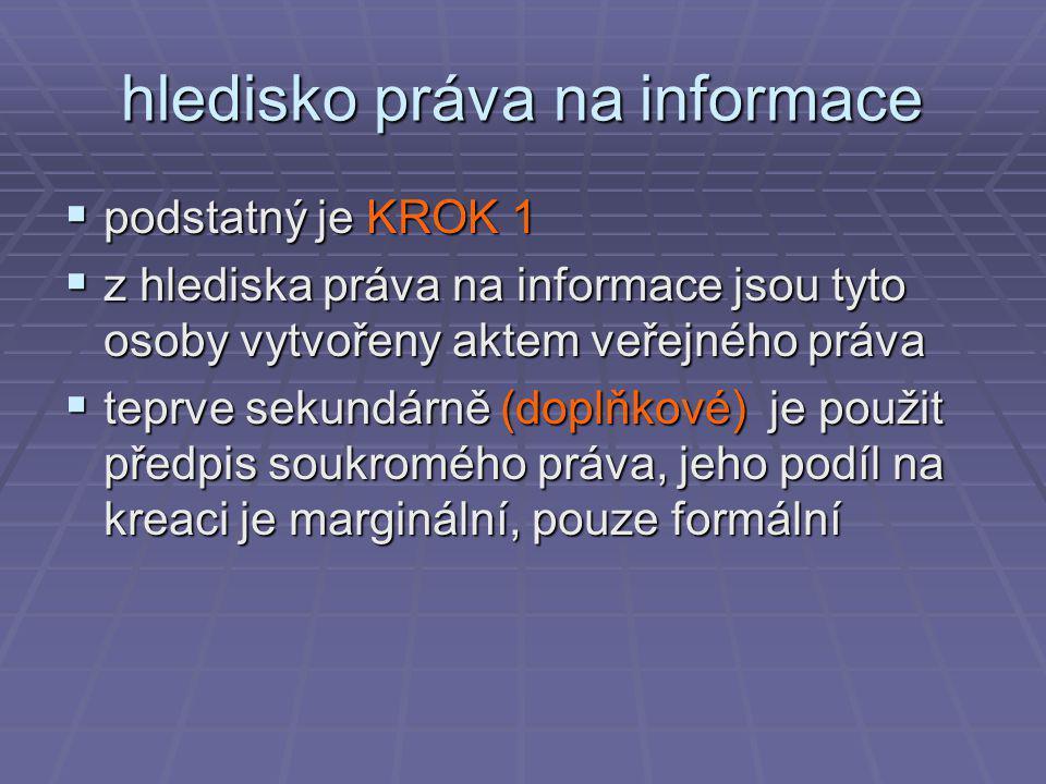 hledisko práva na informace  podstatný je KROK 1  z hlediska práva na informace jsou tyto osoby vytvořeny aktem veřejného práva  teprve sekundárně (doplňkové) je použit předpis soukromého práva, jeho podíl na kreaci je marginální, pouze formální