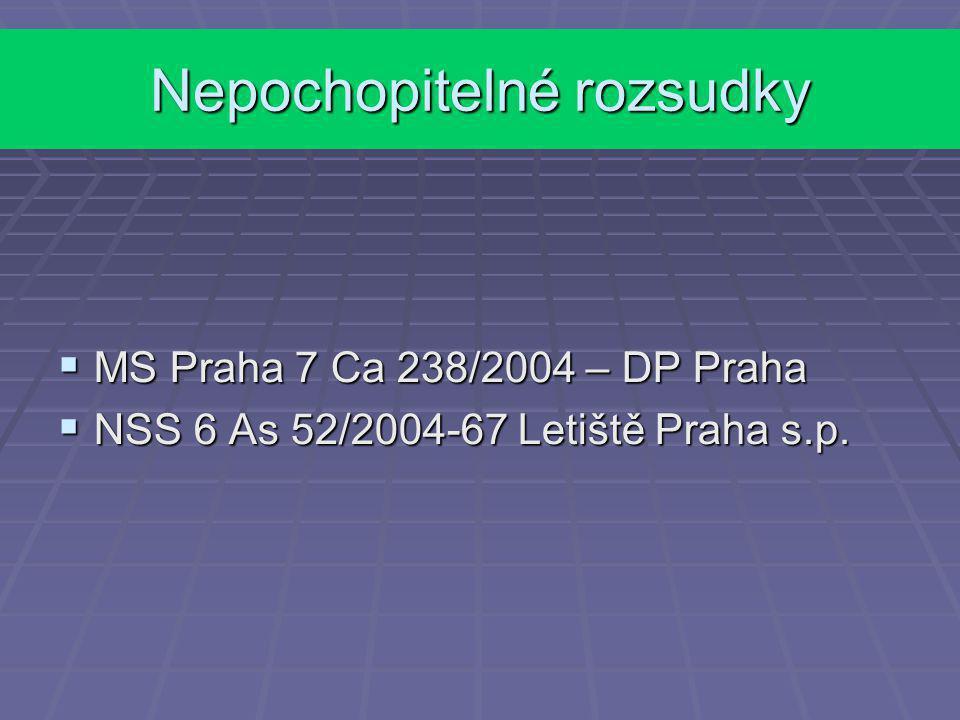 Nepochopitelné rozsudky  MS Praha 7 Ca 238/2004 – DP Praha  NSS 6 As 52/2004-67 Letiště Praha s.p.