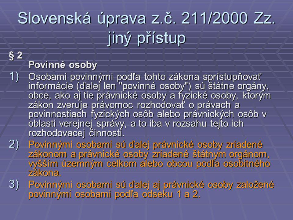 Slovenská úprava z.č. 211/2000 Zz.