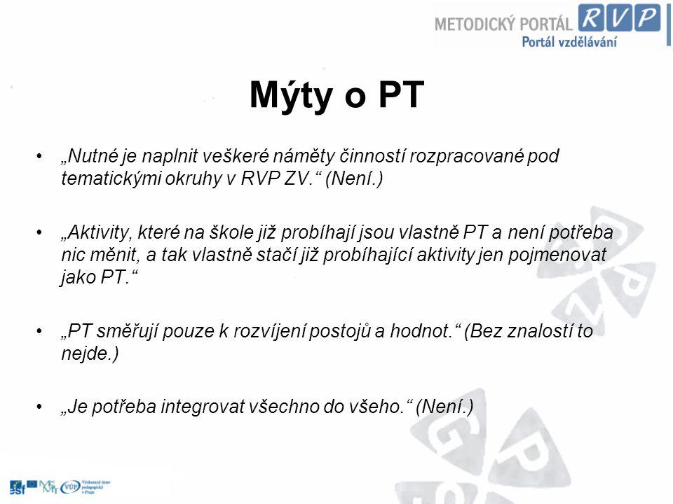 """Mýty o PT """"Nutné je naplnit veškeré náměty činností rozpracované pod tematickými okruhy v RVP ZV."""" (Není.) """"Aktivity, které na škole již probíhají jso"""