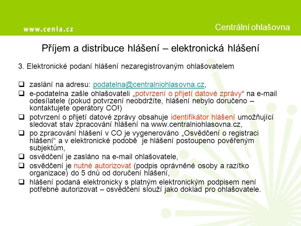 Příjem a distribuce hlášení – zamítnutí hlášení Hlášení podané ohlašovatelem do CO může být zamítnuto: 1.Hlášení bylo zasláno ve formátu, který e-podatelna nepřijímá (např.