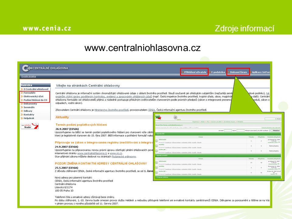 Základní informace  Centrální ohlašovna je komunikační rozhraní mezi ohlašovateli a dotčenými subjekty státní správy, případně dalšími subjekty pověřenými platnou legislativou,  přijímá hlášení, zajišťuje administraci a archivaci a postupuje příslušným ověřovatelům,  cílem CO je sjednotit zasílání formulářů a plnění ohlašovacích povinností v rezortu životního prostředí na jediné místo,  zřizovatelem je Ministerstvo životního prostředí, provozovatelem CENIA, česká informační agentura životního prostředí.