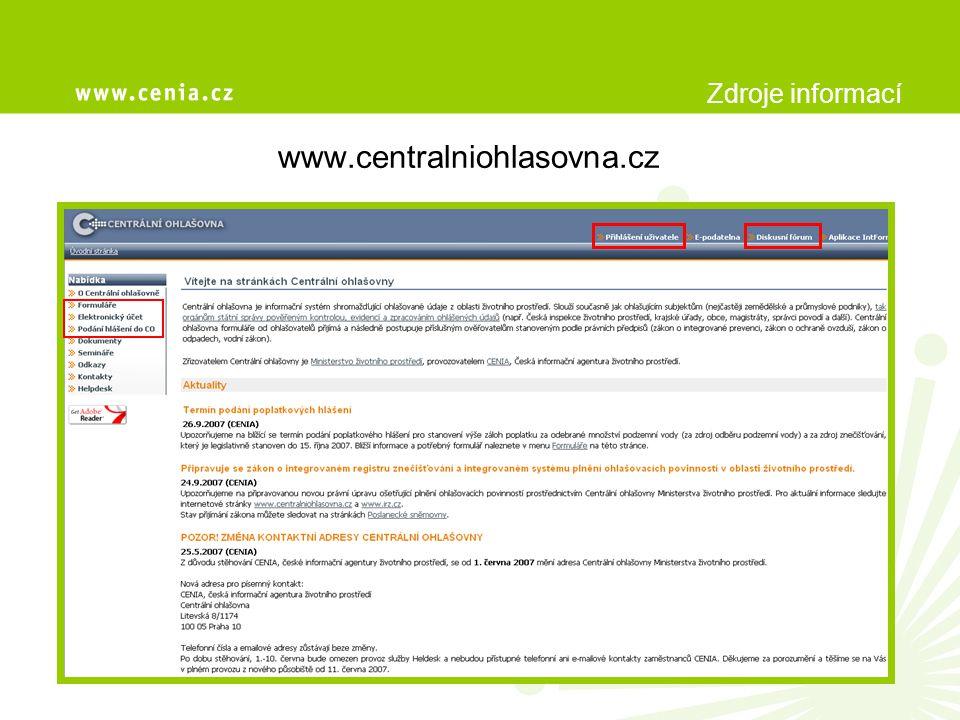 Centrální ohlašovna Děkujeme za pozornost CENIA, česká informační agentura životního prostředí Úsek informační podpory, oddělení IRZ/CO