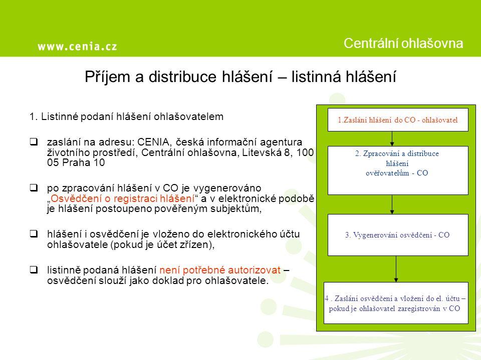 Příjem a distribuce hlášení – listinná hlášení 1.