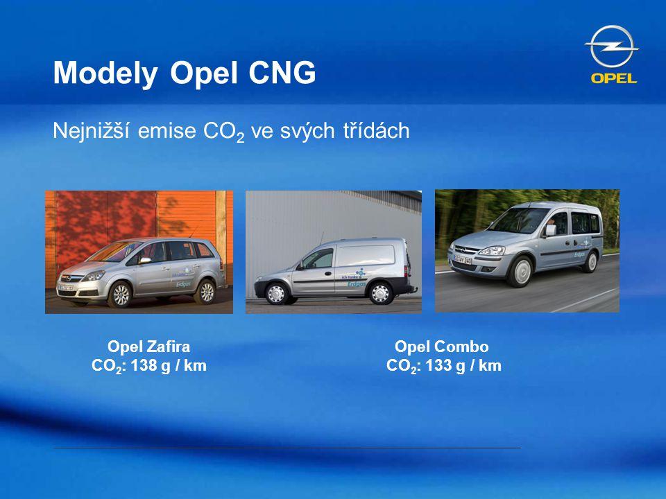 Modely Opel CNG Nejnižší emise CO 2 ve svých třídách Opel Combo CO 2 : 133 g / km Opel Zafira CO 2 : 138 g / km