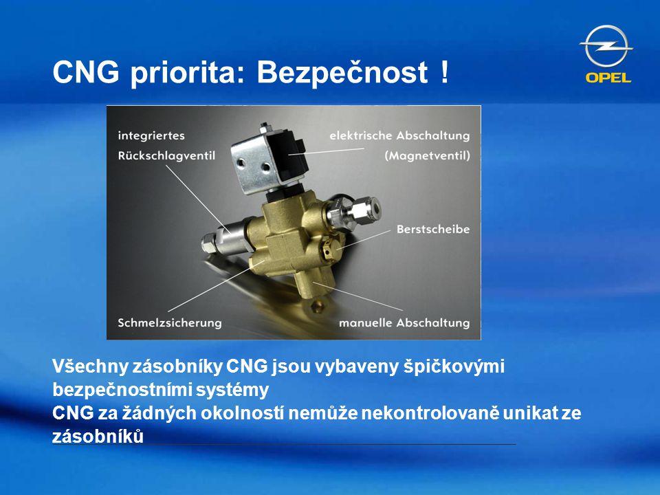 CNG priorita: Bezpečnost ! Všechny zásobníky CNG jsou vybaveny špičkovými bezpečnostními systémy CNG za žádných okolností nemůže nekontrolovaně unikat