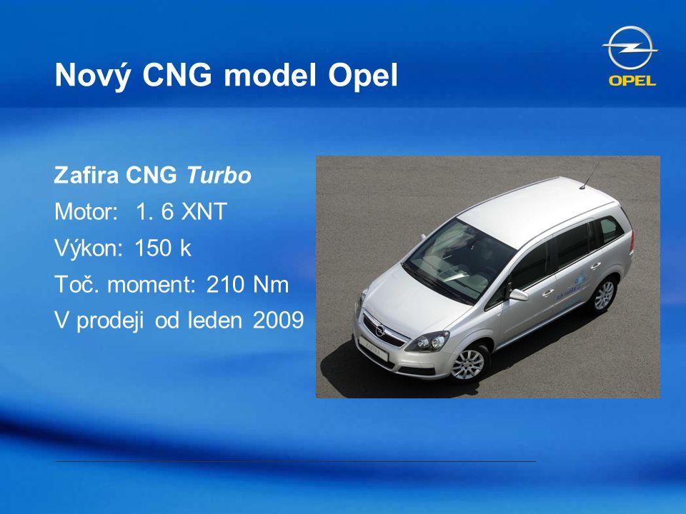 Nový CNG model Opel Zafira CNG Turbo Motor: 1. 6 XNT Výkon: 150 k Toč. moment: 210 Nm V prodeji od leden 2009