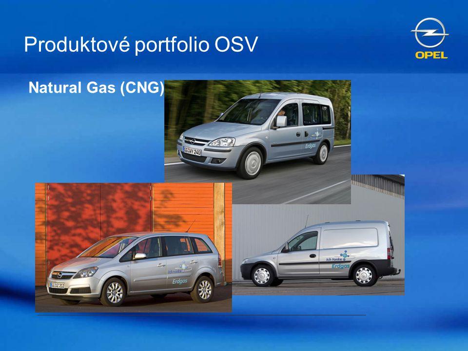 OSV: Druhý největší producent CNG automobilů v Evropě Dosud vyrobeno : 20 000 Zafira (A) CNG 3600 Astra (G) Caravan CNG 13000 Combo CNG 15 000 Zafira (B) CNG _____________________ > 45 000 celkem