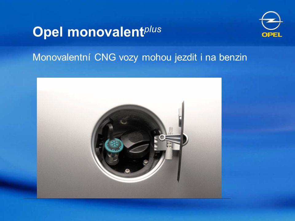 Opel monovalent plus Motory a automobily optimalizované pro provoz na CNG Možný i provoz na benzin (snížené parametry) díky nádrži na 14 l benzinu Akční rádius na CNG cca 350 – 380 km Dodatečný dojezd na benzin 150 km Nenarušený vnitřní prostor/flexibilita Nesnížené užitečné zatížení Možnost parkování v podzemních garážích
