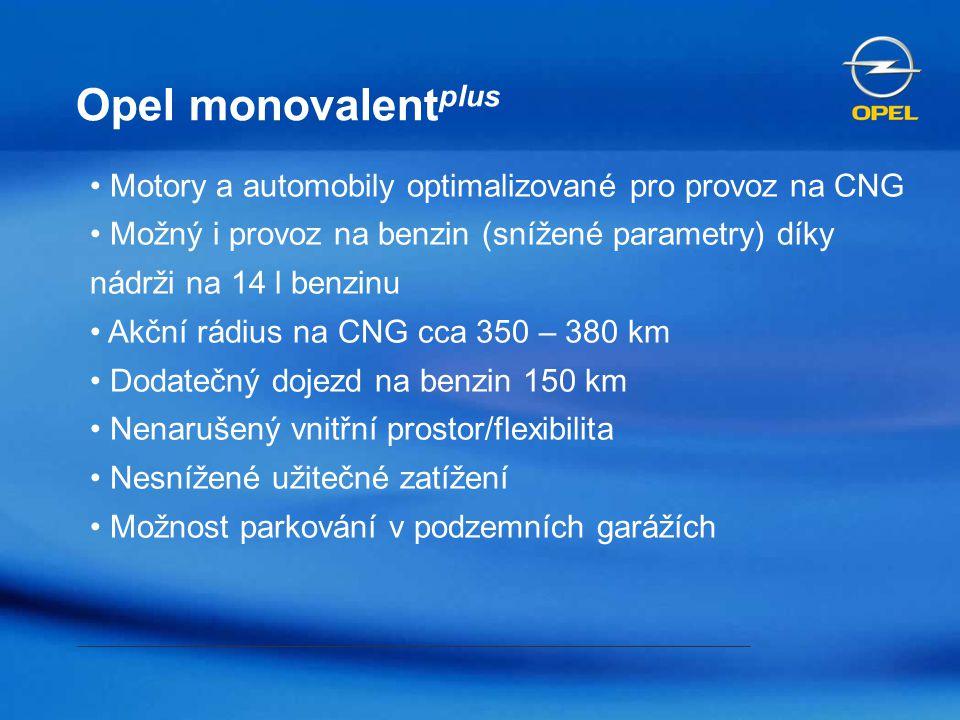 Opel monovalent plus Motory a automobily optimalizované pro provoz na CNG Možný i provoz na benzin (snížené parametry) díky nádrži na 14 l benzinu Akč