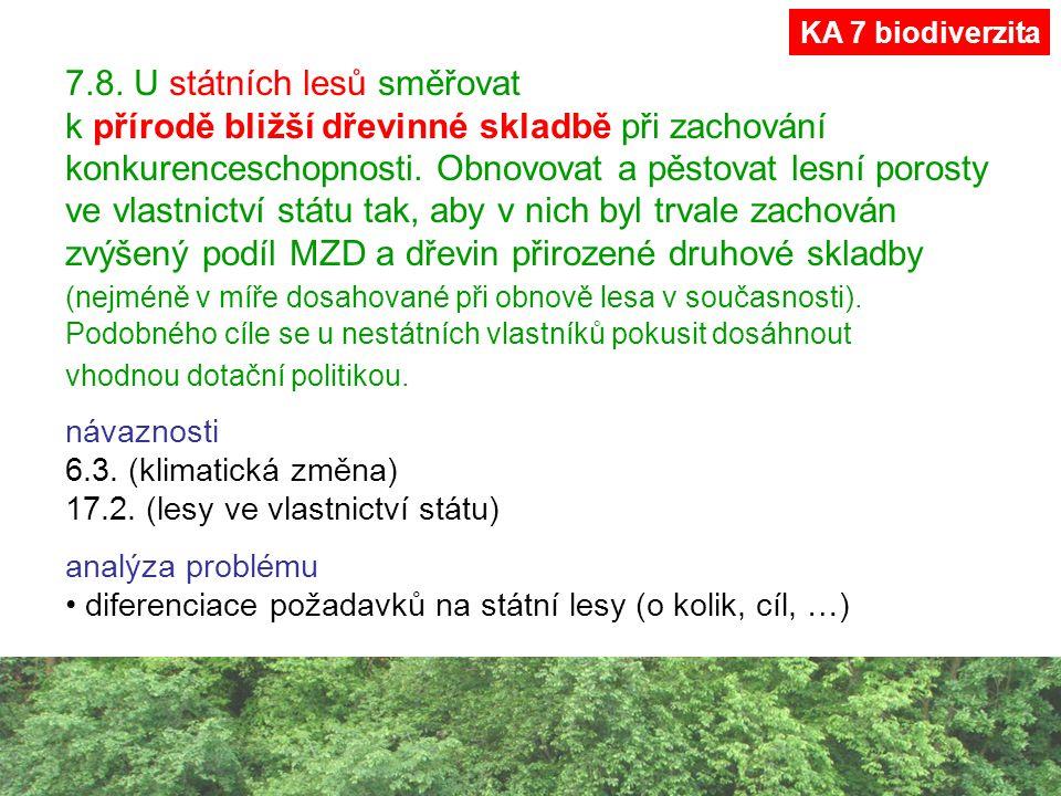 7.8. U státních lesů směřovat k přírodě bližší dřevinné skladbě při zachování konkurenceschopnosti. Obnovovat a pěstovat lesní porosty ve vlastnictví