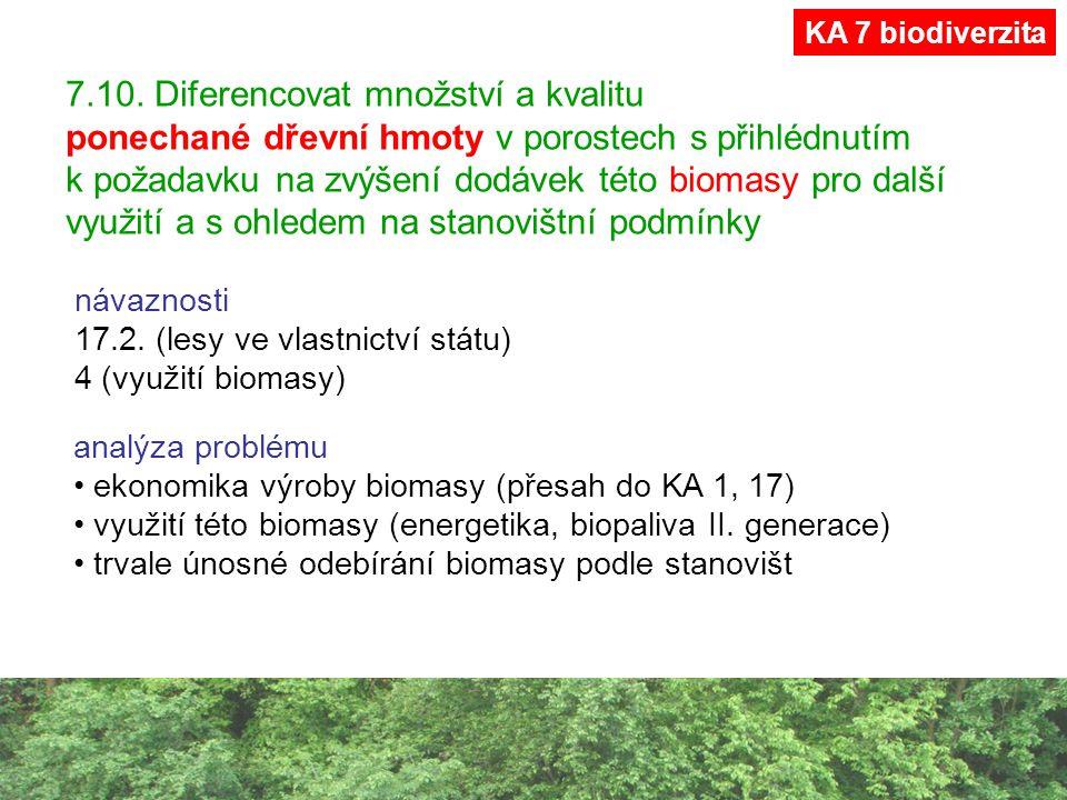 7.10. Diferencovat množství a kvalitu ponechané dřevní hmoty v porostech s přihlédnutím k požadavku na zvýšení dodávek této biomasy pro další využití