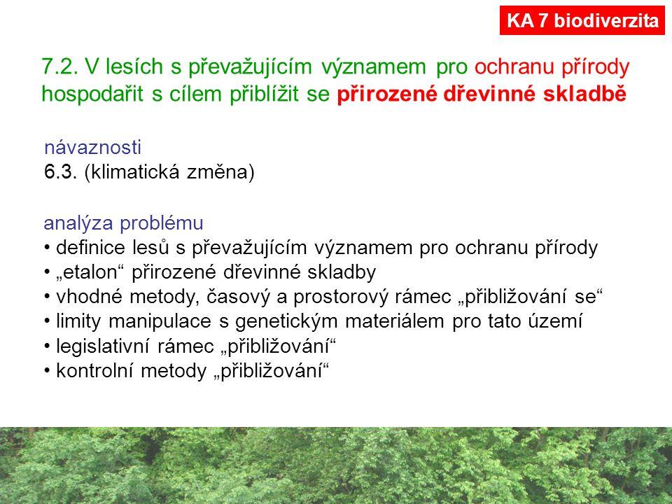 7.2. V lesích s převažujícím významem pro ochranu přírody hospodařit s cílem přiblížit se přirozené dřevinné skladbě návaznosti 6.3. (klimatická změna