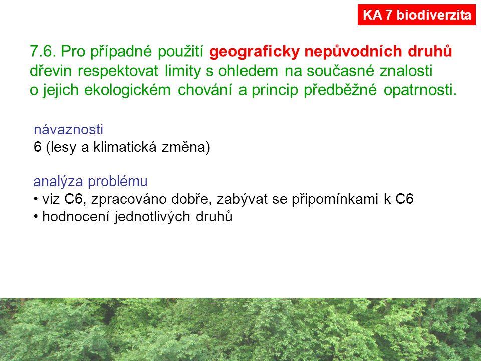 7.6. Pro případné použití geograficky nepůvodních druhů dřevin respektovat limity s ohledem na současné znalosti o jejich ekologickém chování a princi