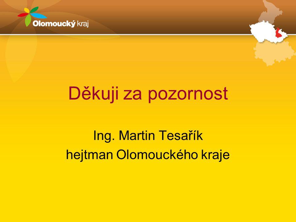 Děkuji za pozornost Ing. Martin Tesařík hejtman Olomouckého kraje