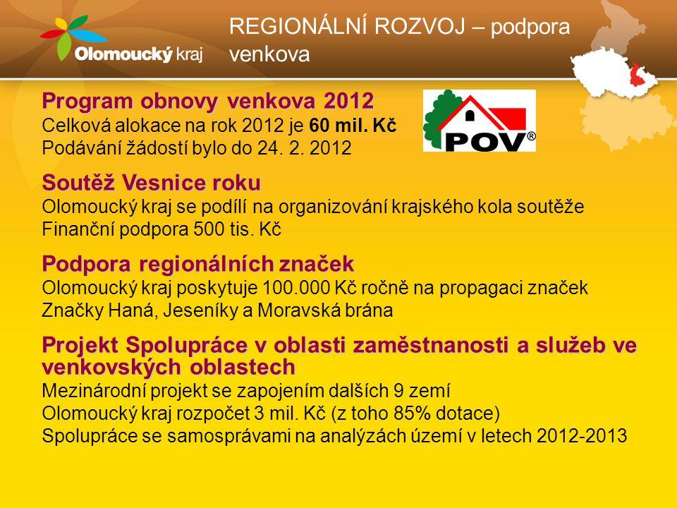 REGIONÁLNÍ ROZVOJ – koncepční činnost Program rozvoje územního obvodu Olomouckého kraje Základní samosprávný koncepční dokument, aktualizován v září 2011 Informace v brožuře a na www.kr-olomoucky.cz > Regionální rozvojwww.kr-olomoucky.czRegionální rozvoj Regionální inovační strategie (RIS) Cíl: podpora zvyšování konkurenceschopnosti místní ekonomiky a tvorby kvalitních pracovních míst, www.kr-olomoucky.cz > Podnikáníwww.kr-olomoucky.czPodnikání Sdružení OK4Inovace Zakládající členové: OK, SMOL, UPOL, MVŠO, VŠLG, KHK OK, AK OK, NÚRS (realizuje RIS, Info www.ok4inovace.cz)www.ok4inovace.cz Sdružením OK4EU Zákládající členové: OK, Olomouc, Přerov, Prostějov, Šumperk, Jeseník, UPOL, MVŠO, VŠLG, UNO, KHK OK Zastupuje zájmy regionu v institucích Evropské unie, dále dle možností v evropských sdruženích, sítích regionů (Info www.ok4eu.cz)www.ok4eu.cz