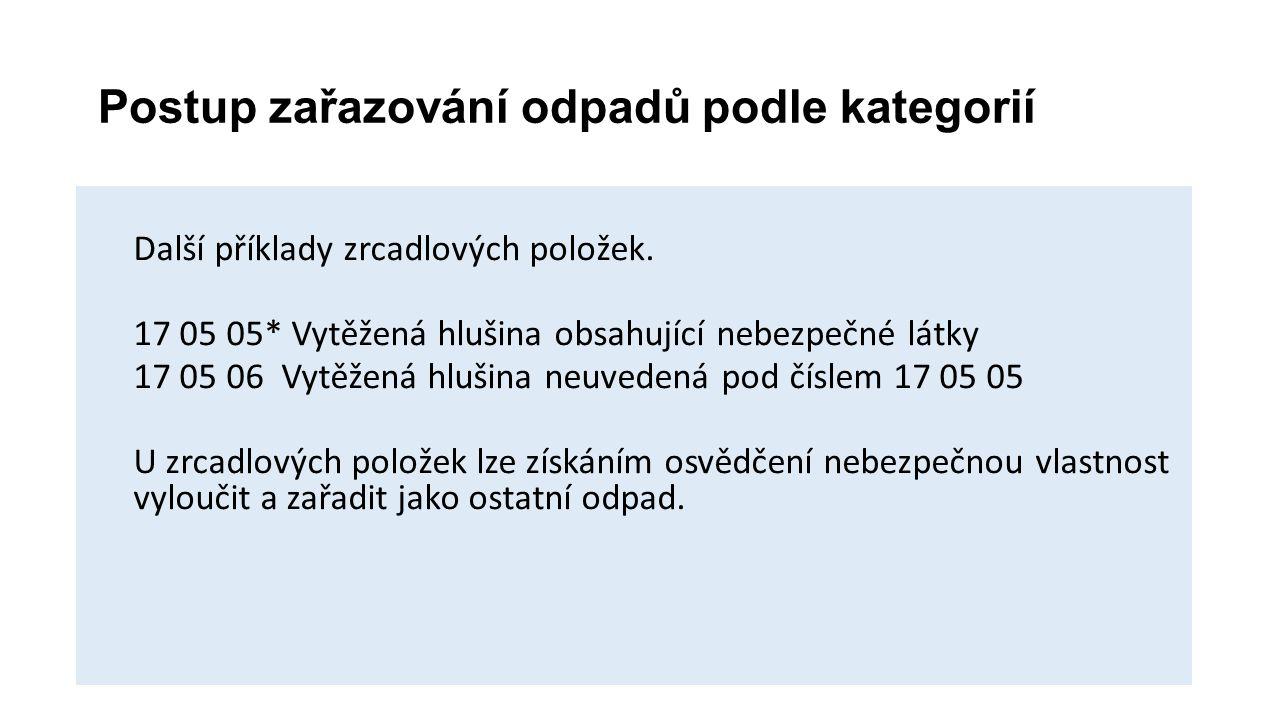 Postup zařazování odpadů podle kategorií Další příklady zrcadlových položek. 17 05 05* Vytěžená hlušina obsahující nebezpečné látky 17 05 06 Vytěžená