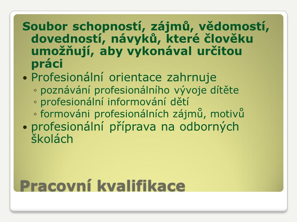 Pracovní kvalifikace Soubor schopností, zájmů, vědomostí, dovedností, návyků, které člověku umožňují, aby vykonával určitou práci Profesionální orient