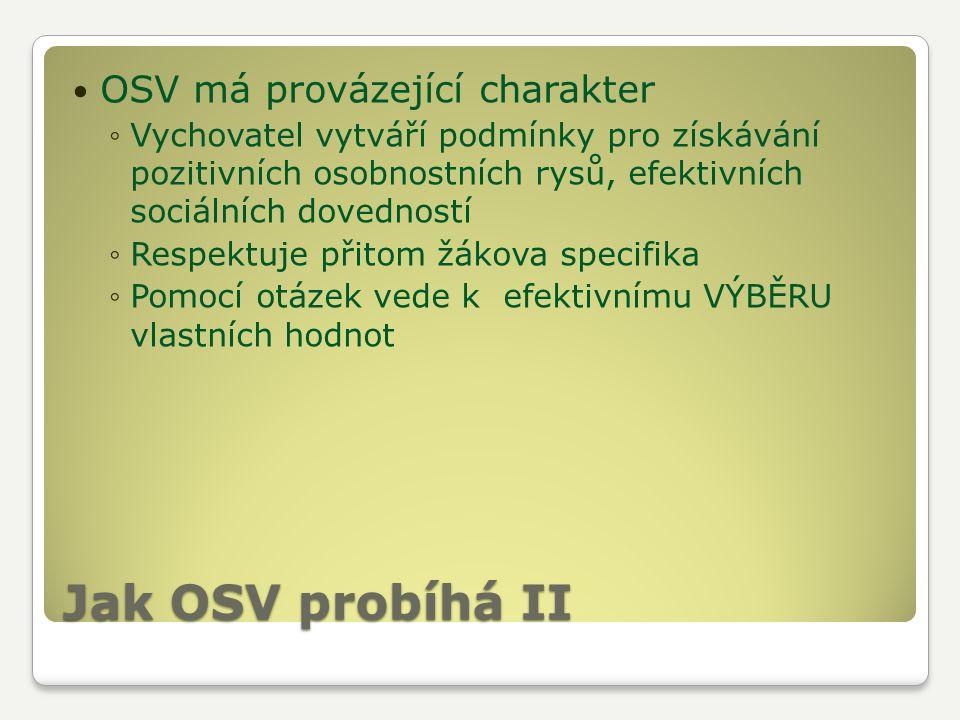 Jak OSV probíhá II OSV má provázející charakter ◦Vychovatel vytváří podmínky pro získávání pozitivních osobnostních rysů, efektivních sociálních doved
