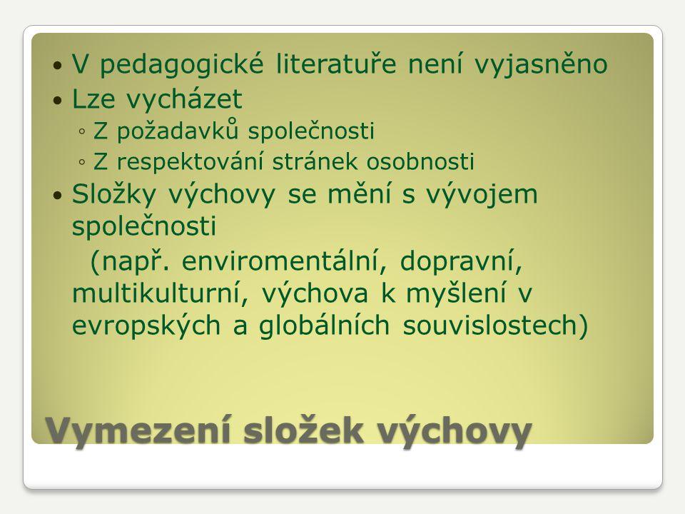 Vymezení složek výchovy V pedagogické literatuře není vyjasněno Lze vycházet ◦Z požadavků společnosti ◦Z respektování stránek osobnosti Složky výchovy