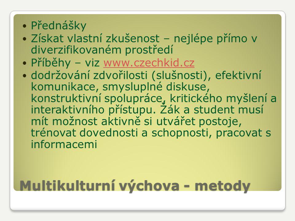Multikulturní výchova - metody Přednášky Získat vlastní zkušenost – nejlépe přímo v diverzifikovaném prostředí Příběhy – viz www.czechkid.czwww.czechk
