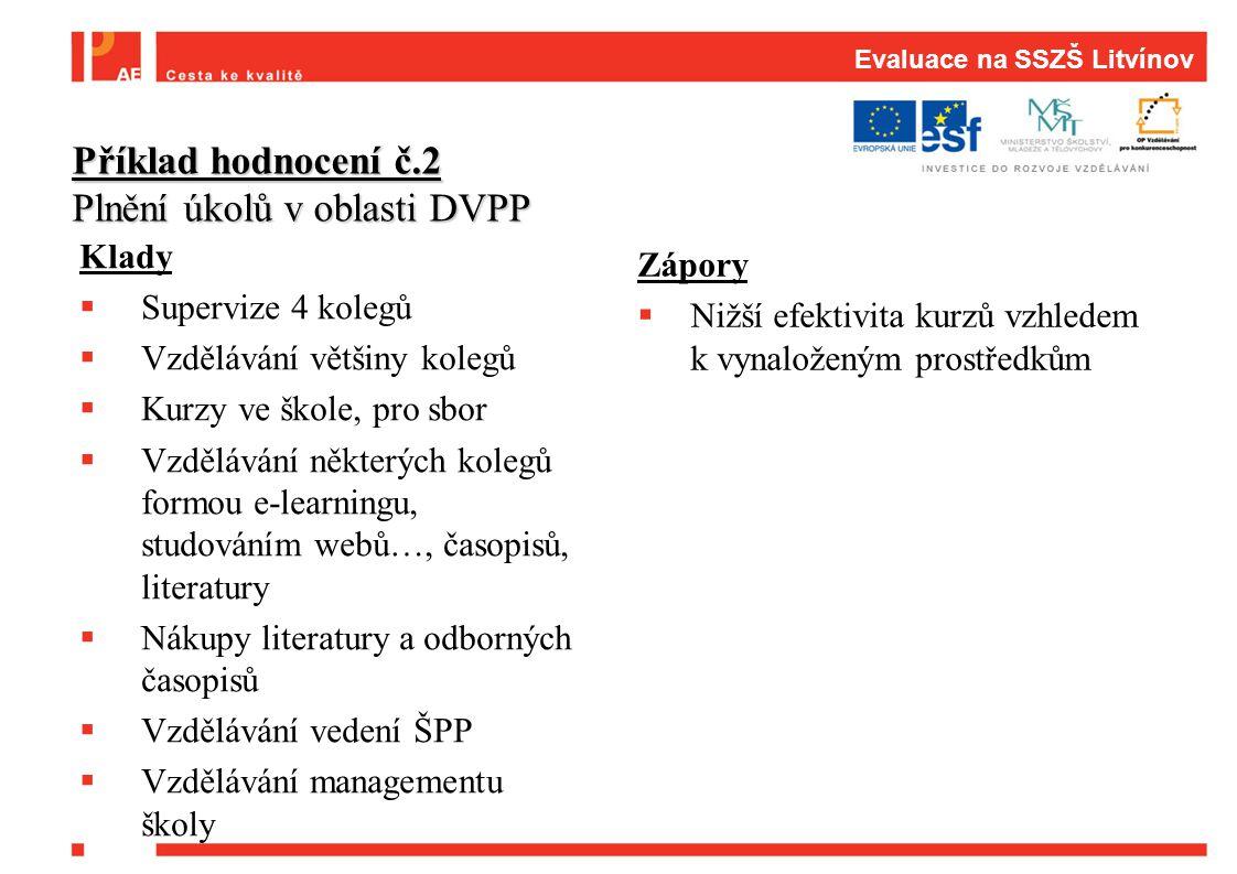 Evaluace na SSZŠ Litvínov Klady  Supervize 4 kolegů  Vzdělávání většiny kolegů  Kurzy ve škole, pro sbor  Vzdělávání některých kolegů formou e-lea