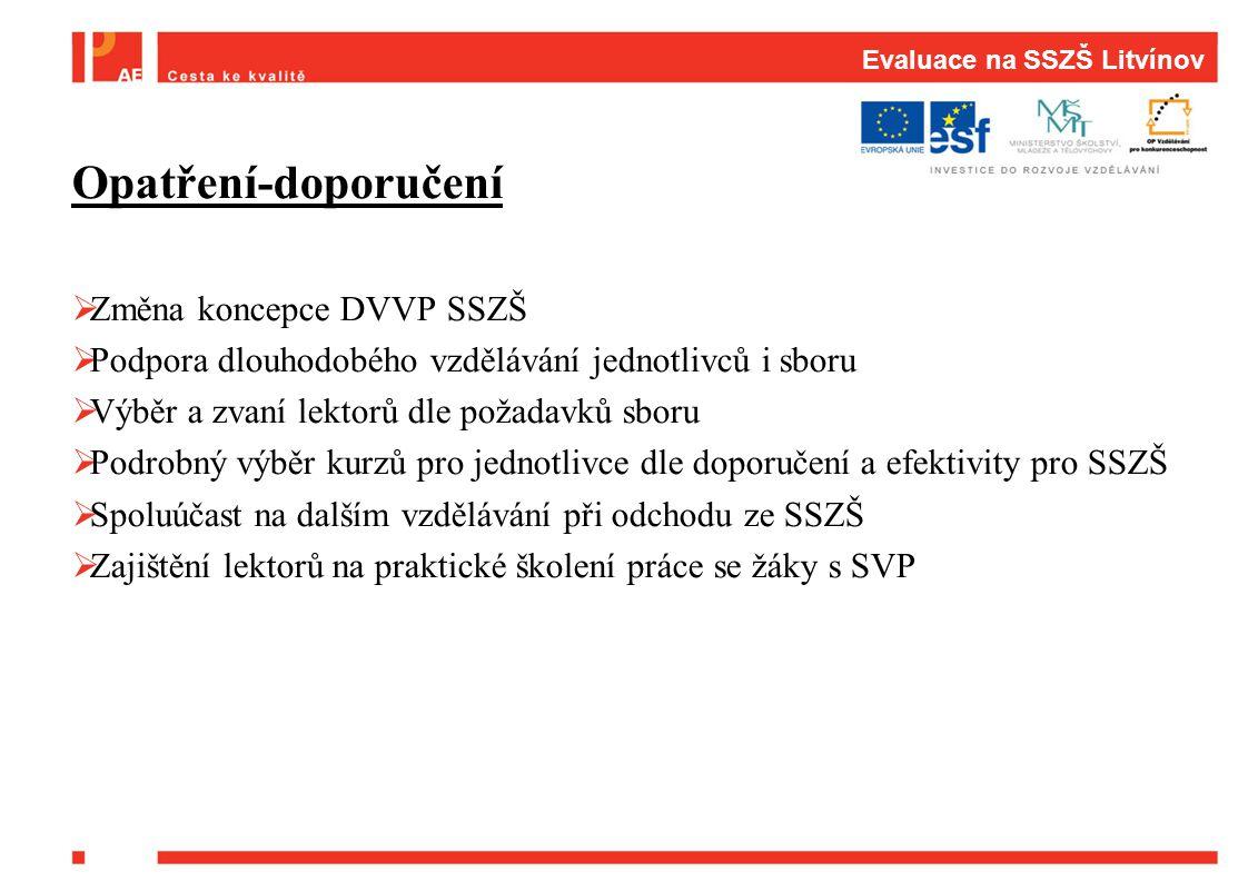 Evaluace na SSZŠ Litvínov Opatření-doporučení  Změna koncepce DVVP SSZŠ  Podpora dlouhodobého vzdělávání jednotlivců i sboru  Výběr a zvaní lektorů