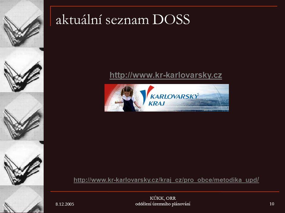 8.12.2005 KÚKK, ORR oddělení územního plánování10 aktuální seznam DOSS http://www.kr-karlovarsky.cz http://www.kr-karlovarsky.cz/kraj_cz/pro_obce/meto