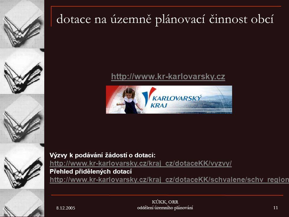 8.12.2005 KÚKK, ORR oddělení územního plánování11 dotace na územně plánovací činnost obcí http://www.kr-karlovarsky.cz Výzvy k podávání žádostí o dota