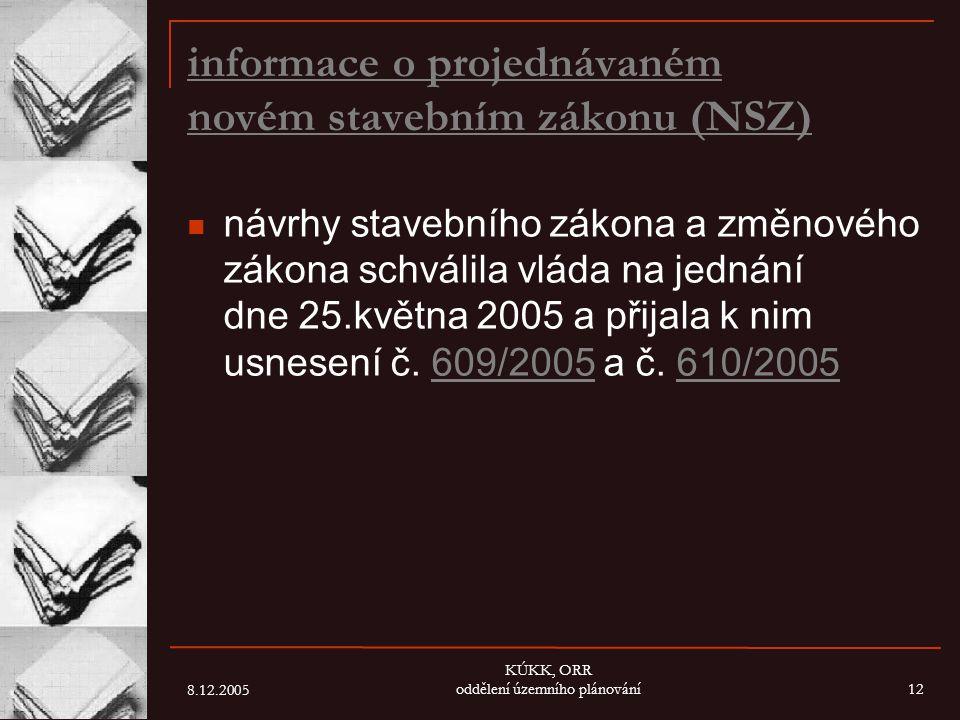 8.12.2005 KÚKK, ORR oddělení územního plánování12 informace o projednávaném novém stavebním zákonu (NSZ) návrhy stavebního zákona a změnového zákona s