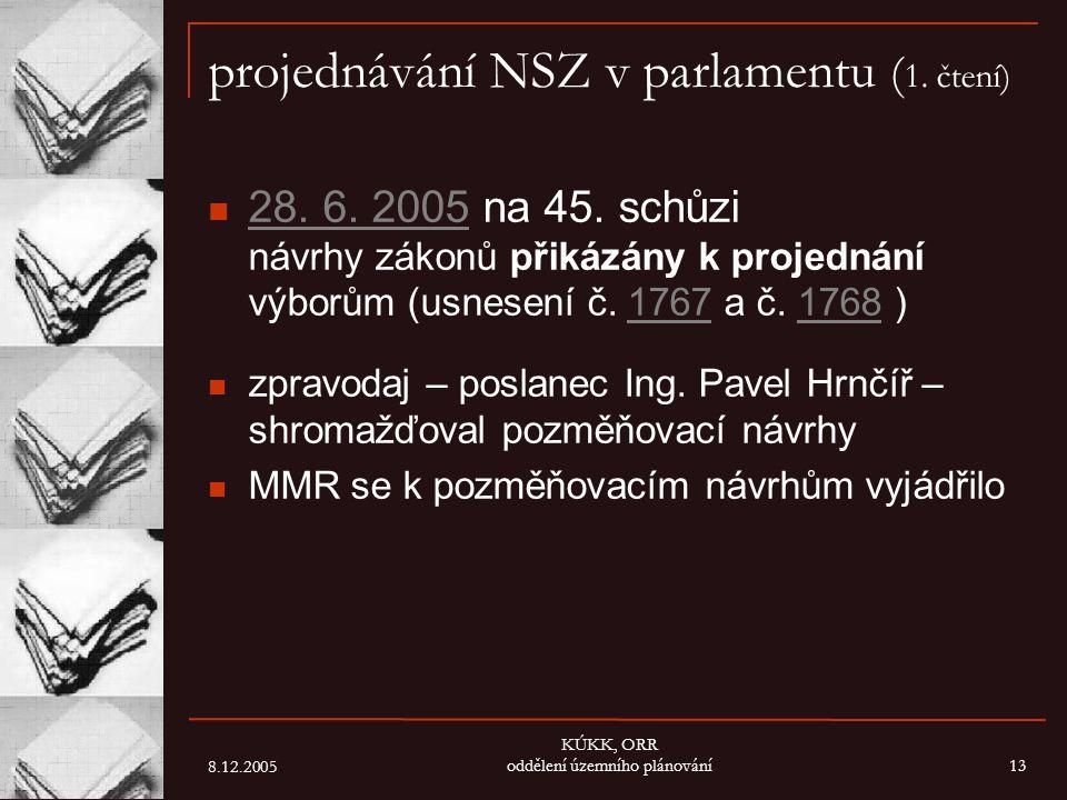 8.12.2005 KÚKK, ORR oddělení územního plánování13 projednávání NSZ v parlamentu ( 1. čtení) 28. 6. 2005 na 45. schůzi návrhy zákonů přikázány k projed