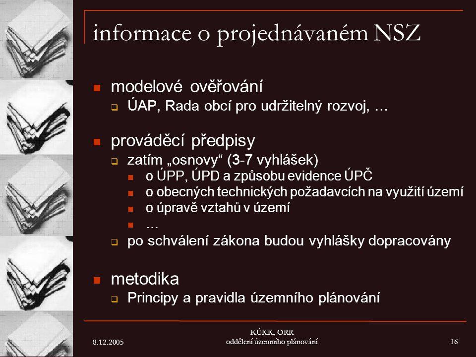 8.12.2005 KÚKK, ORR oddělení územního plánování16 informace o projednávaném NSZ modelové ověřování  ÚAP, Rada obcí pro udržitelný rozvoj, … prováděcí