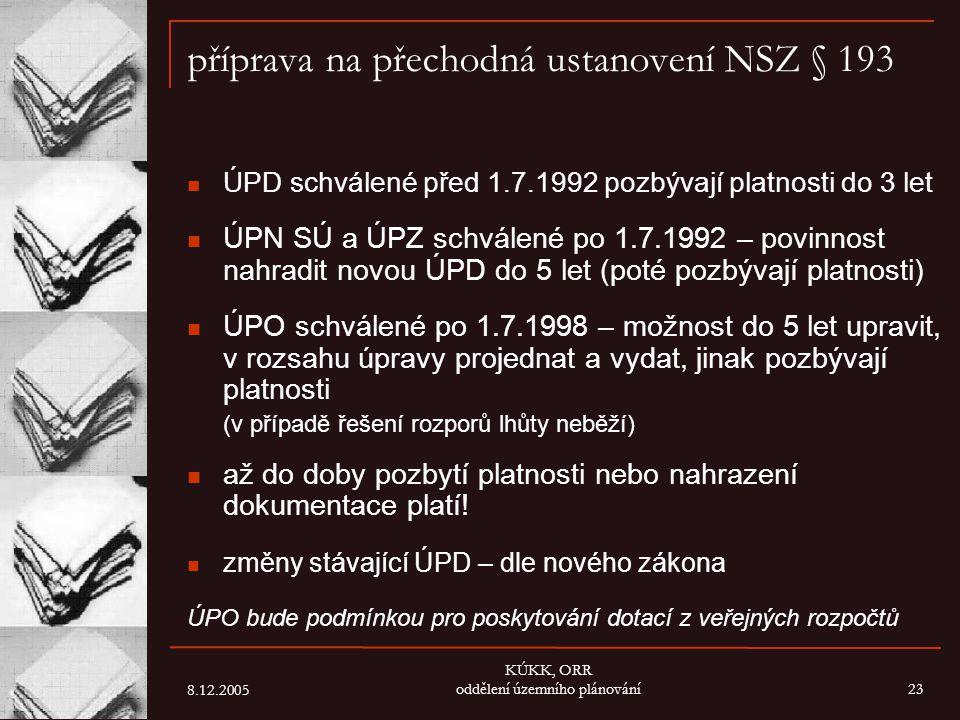 8.12.2005 KÚKK, ORR oddělení územního plánování23 příprava na přechodná ustanovení NSZ § 193 ÚPD schválené před 1.7.1992 pozbývají platnosti do 3 let