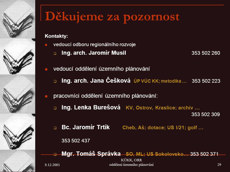 8.12.2005 KÚKK, ORR oddělení územního plánování29 Děkujeme za pozornost Kontakty: vedoucí odboru regionálního rozvoje  Ing. arch. Jaromír Musil 353 5