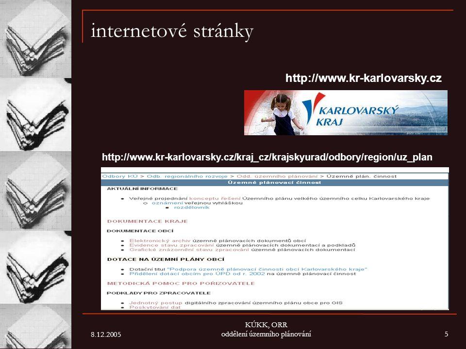 8.12.2005 KÚKK, ORR oddělení územního plánování5 internetové stránky http://www.kr-karlovarsky.cz/kraj_cz/krajskyurad/odbory/region/uz_plan http://www