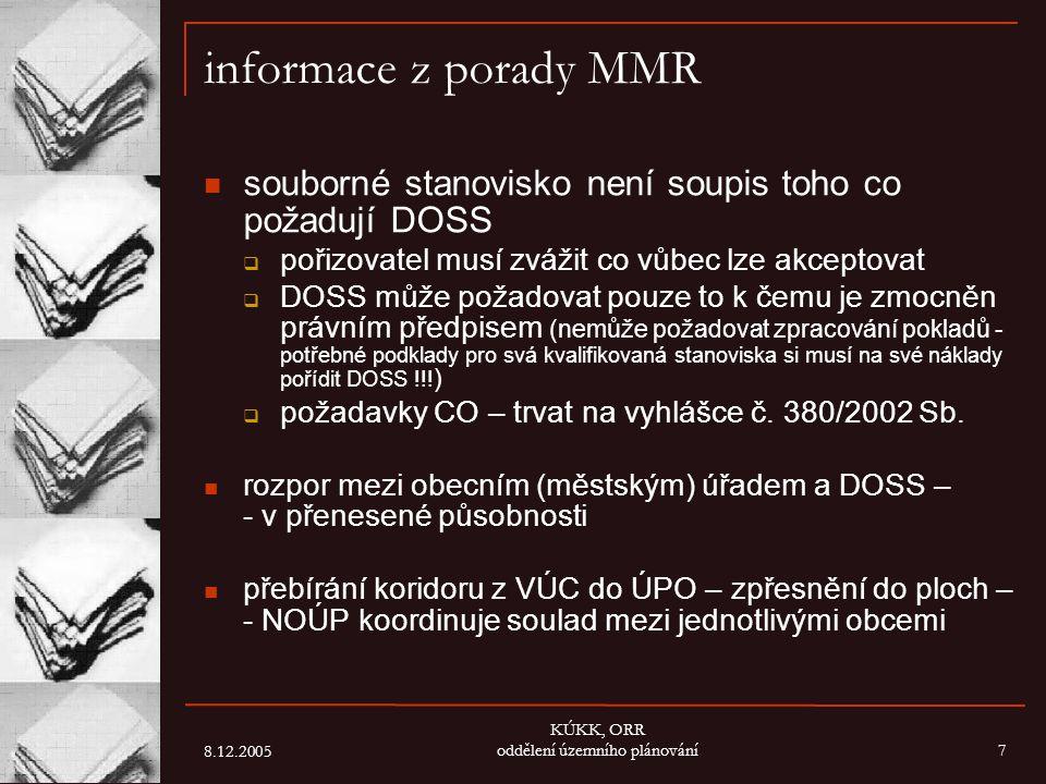 8.12.2005 KÚKK, ORR oddělení územního plánování7 informace z porady MMR souborné stanovisko není soupis toho co požadují DOSS  pořizovatel musí zváži