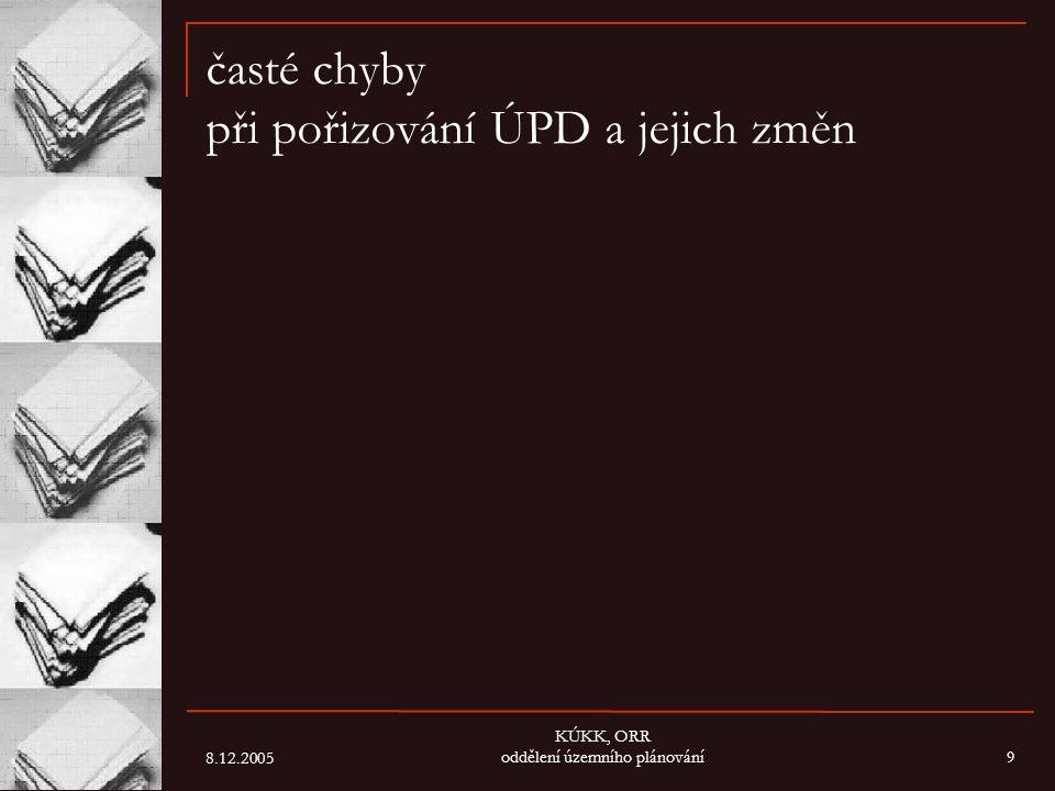 8.12.2005 KÚKK, ORR oddělení územního plánování9 časté chyby při pořizování ÚPD a jejich změn