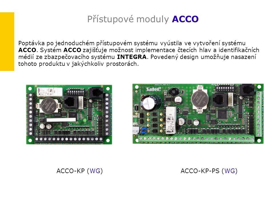 Přístupové moduly ACCO Poptávka po jednoduchém přístupovém systému vyústila ve vytvoření systému ACCO. Systém ACCO zajišťuje možnost implementace čtec