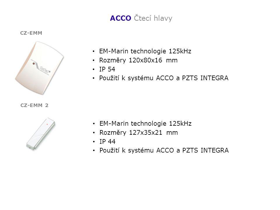 ACCO Čtecí hlavy EM-Marin technologie 125kHz Rozměry 120x80x16 mm IP 54 Použití k systému ACCO a PZTS INTEGRA CZ-EMM EM-Marin technologie 125kHz Rozmě