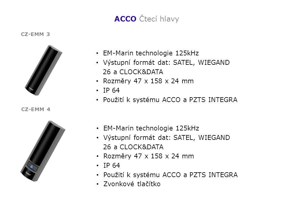 ACCO Čtecí hlavy EM-Marin technologie 125kHz Výstupní formát dat: SATEL, WIEGAND 26 a CLOCK&DATA Rozměry 47 x 158 x 24 mm IP 64 Použití k systému ACCO