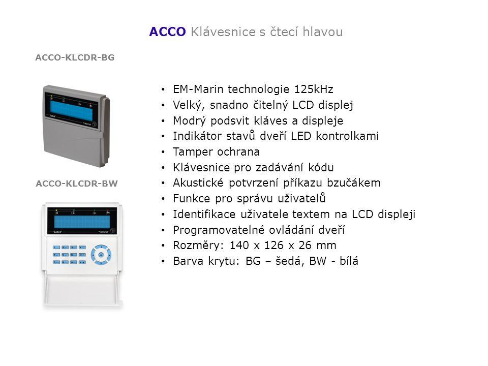 ACCO Klávesnice s čtecí hlavou EM-Marin technologie 125kHz Velký, snadno čitelný LCD displej Modrý podsvit kláves a displeje Indikátor stavů dveří LED