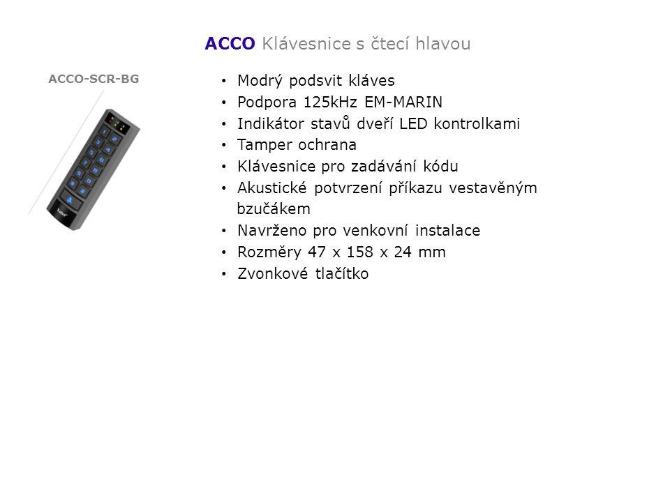 ACCO Klávesnice s čtecí hlavou Modrý podsvit kláves Podpora 125kHz EM-MARIN Indikátor stavů dveří LED kontrolkami Tamper ochrana Klávesnice pro zadává
