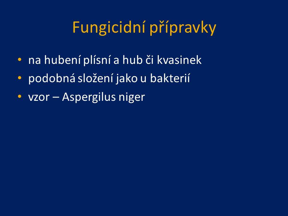 Fungicidní přípravky na hubení plísní a hub či kvasinek podobná složení jako u bakterií vzor – Aspergilus niger