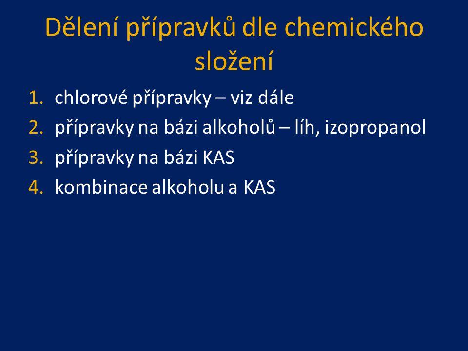 Dělení přípravků dle chemického složení 1.chlorové přípravky epidemie či pandemie ve středověku – chlorové vápno, později chloramin pro dezinfekci vody Cl 2,ClO 2, NaClO, až po složité sloučeniny chloru DCCNa, TCCNa – mají celou škálu účinnosti při malém dávkování a v krátkém časovém horizontu nejvíce používány NaClO  SAVO, SANITAN, DOMESTOS ; 5%
