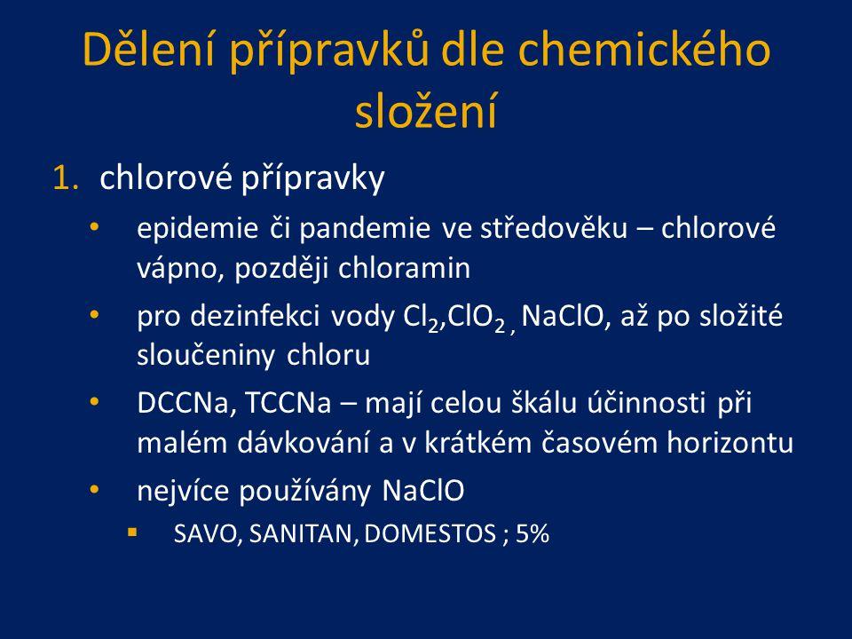 Dělení přípravků dle chemického složení 1.chlorové přípravky epidemie či pandemie ve středověku – chlorové vápno, později chloramin pro dezinfekci vod